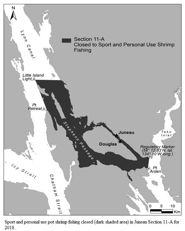 JUNEAU AREA SECTION 11-A REMAINS CLOSED TO SPORT AND PERSONAL USE POT SHRIMP FISHING IN 2018