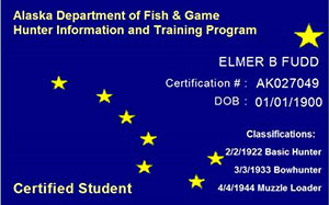Hunter Education Program Sample Certification Card
