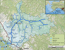 The Stikine River drainage of northwestern British Columbia and Southeast Alaska along with mark-recapture sampling locations.