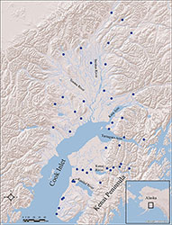 Map of Cook Inlet Chinook salmon baseline collection locations.