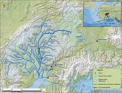 Locations of fish wheels and telemetry stations in the Susitna River drainage.