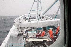 Ice coats a crab boat in the Bering Sea