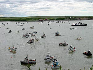 Crowded fishing with many boats in Bristol Bay