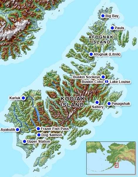 Kodiak Island Alaska Map.Salmon Weir Sites Alaska Department Of Fish And Game