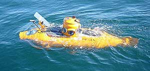 Yellow submersible in the water