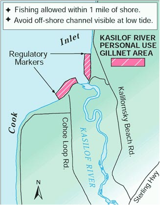 map showing Kasilof personal use gillnet fishing areas