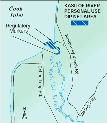 map showing Kasilof personal use dip net fishing areas