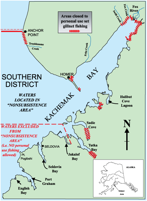 map of Kachemak Bay with areas closed to personal use set gillnet fishing indicated
