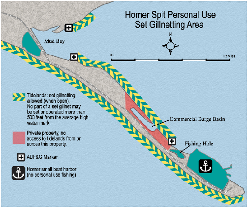 map of Homer Spit Personal Use Set Gillnetting Area with open tidelands indicated, privat property indicated, etc.