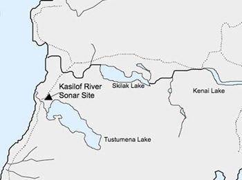 Kasilof Site and River, Alaska Fisheries Sonar, Alaska Department of on manley hot springs map, cordova map, eielson afb map, new stuyahok map, holy cross map, marshall map, yakutat map, adak map, king salmon map, talkeetna map, mountain village map, nome map, anchorage map, homer map, big lake map, whittier map, wainwright map, tustumena lake map, sitka map, st. paul island map,