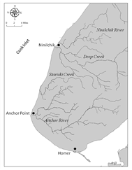 map of freshwater streams in Lower Cook Inlet area