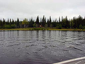 View of the cabin from the Lake.