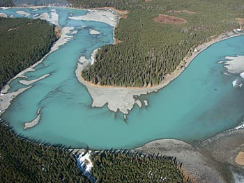 Arial view of the Kenai river.