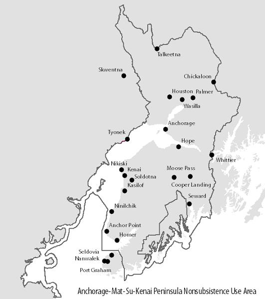 Anchorage-Mat-Su, Kenai Peninsula Nonsubsistence Use Area Map