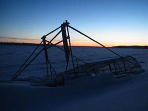 Fishwheel downstream from Beaver, AK at sunset.