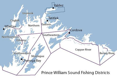 Prince William Sound fishing districts map