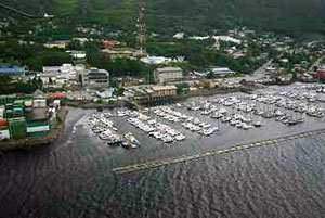 aerial view of a Ketchikan boat harbor