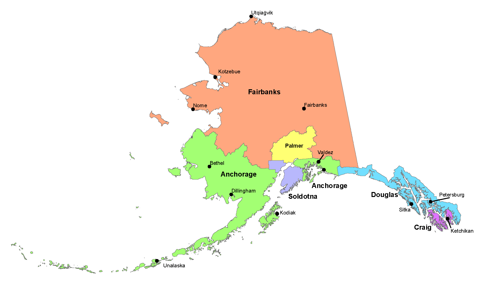 map showing Alaska Fish and Game Division of Habitat office locations