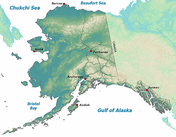 map of Alaska with Fish and Game office locations