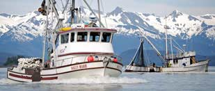 commercial fishing vessel underway in Alaskan waters
