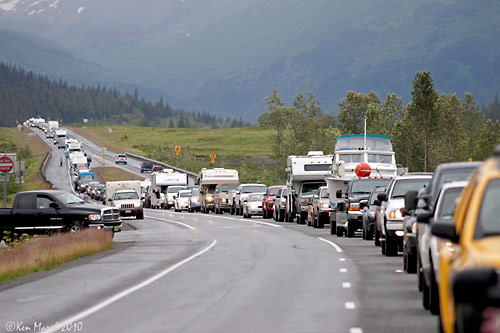 traffic backs up on the Seward Highway when motorists spot wildlife. Copyright Ken Marsh, ADF&G