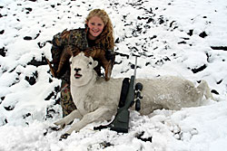 Photo of a successful Dall Sheep hunter.