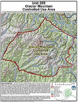 Map of Glacier Mountain Controlled Use Area (GMCUA)