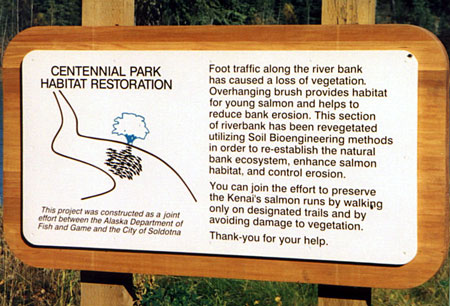 Educational signage, Centennial Park, Kenai River