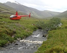helicopter supported invertebrate sampling at arctic bornite prospect