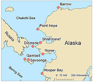 Map of seal sampling locations in Alaska