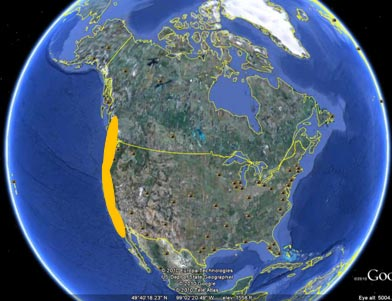 Red-legged frog range in the United States