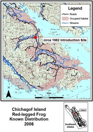 Known distribution of red-legged frogs on Chichagof Island 2006
