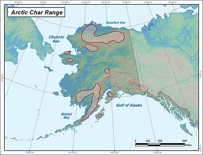 Range map of Arctic Char in Alaska