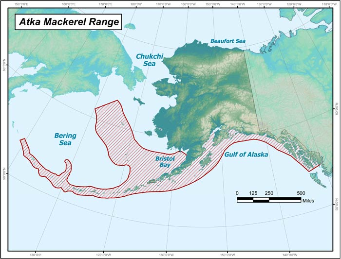 Range map of Atka Mackerel in Alaska