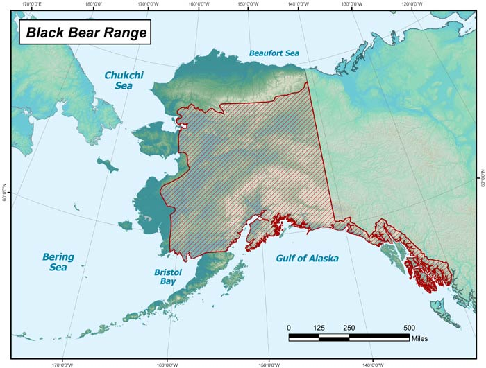 Range map of Black Bear in Alaska