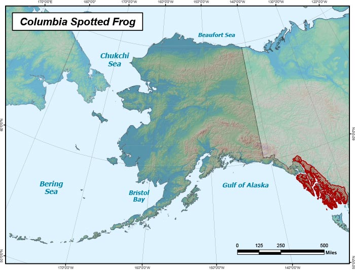 Range map of Columbia Spotted Frog in Alaska