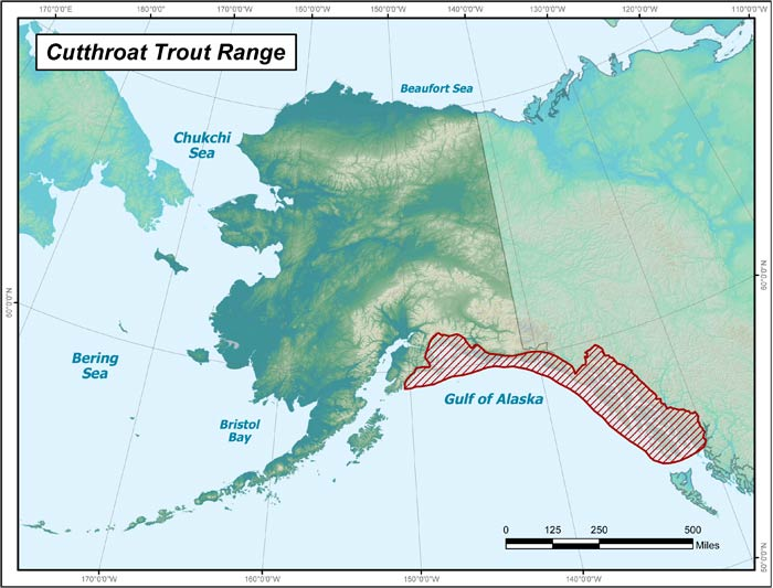 Range map of Cutthroat Trout in Alaska