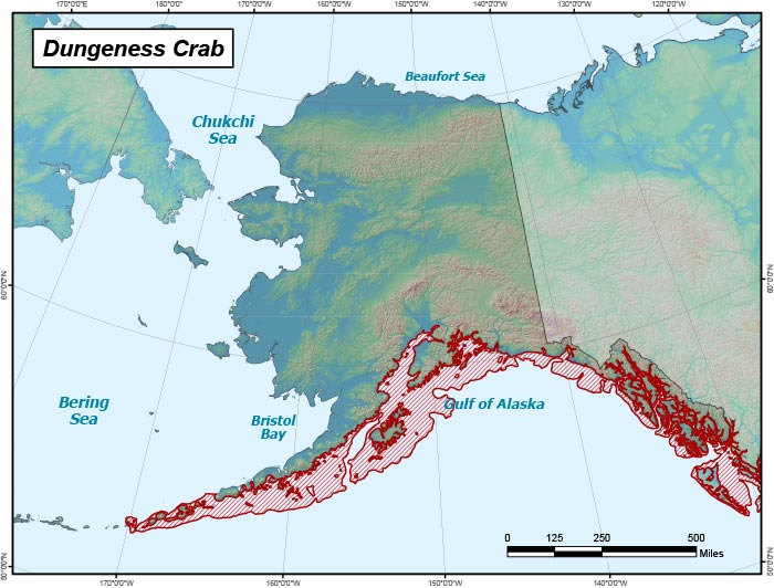 Range map of Dungeness Crab in Alaska