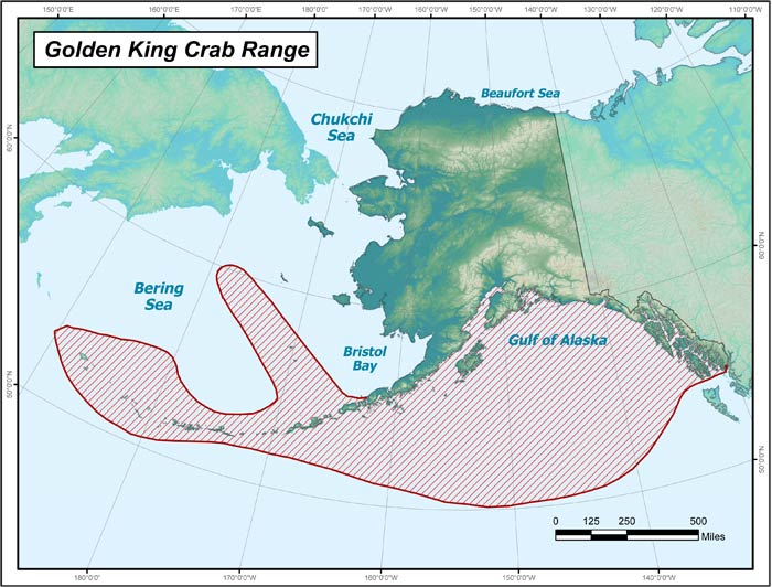 Range map of Golden King Crab in Alaska