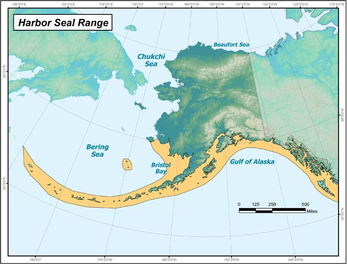 Range map of Harbor Seal in Alaska