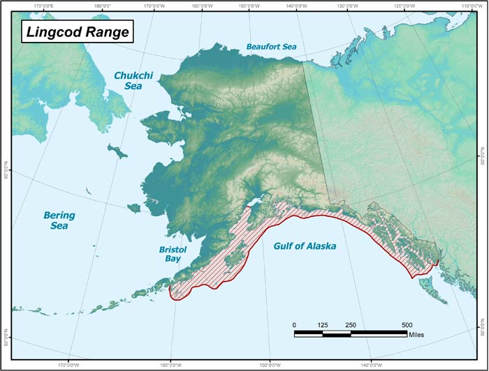 Range map of Lingcod in Alaska