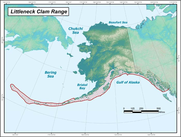 Range map of Littleneck Clam in Alaska