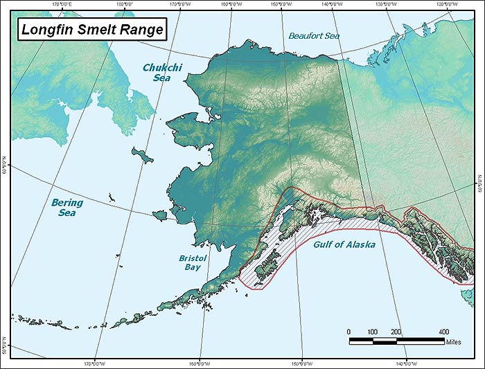 Range map of Longfin Smelt in Alaska