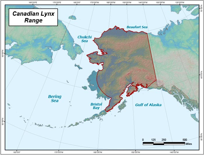 Range map of Lynx in Alaska