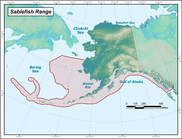 Range map of Sablefish in Alaska