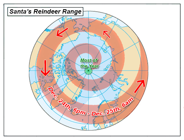 Range map of Santa's Reindeer in Alaska