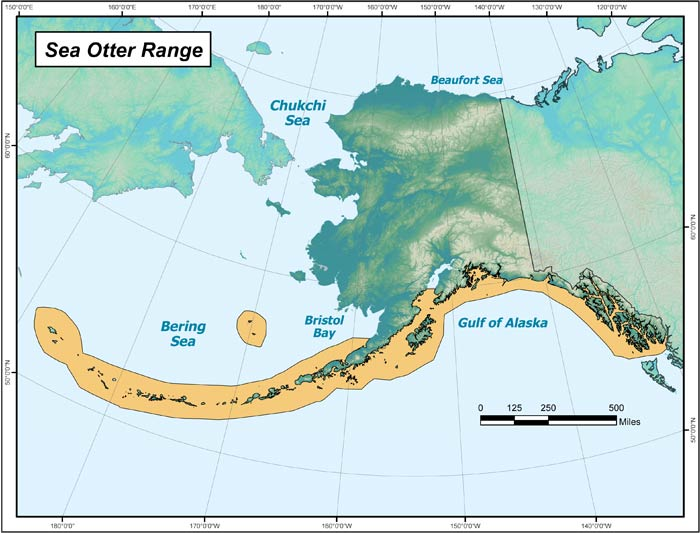 Range map of Northern Sea Otter in Alaska