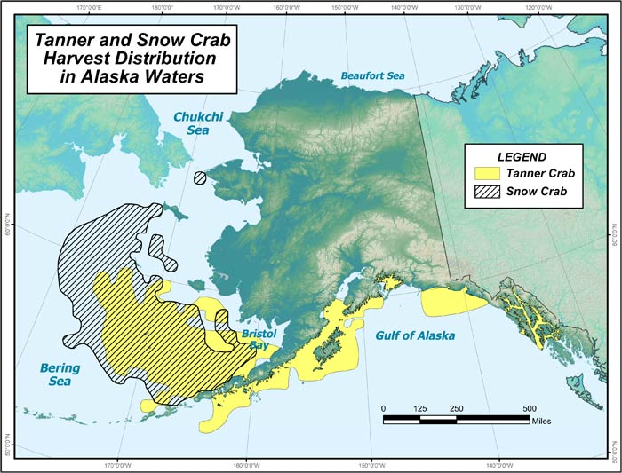 Range map of Tanner Crab in Alaska