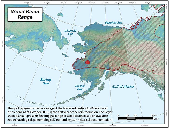 Range map of Wood Bison in Alaska