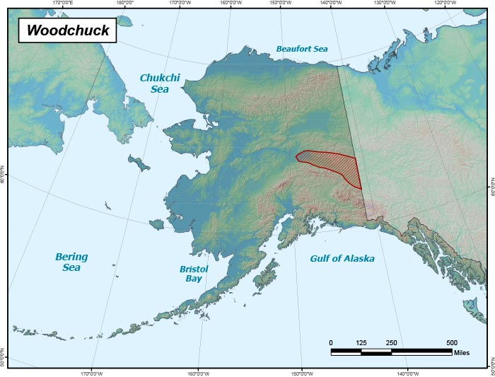 Range map of Woodchuck in Alaska